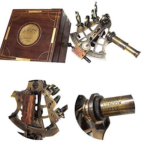 Collectibles Buy J.Scott London 1753 Marine Antik Messing Sextant Handarbeit Holzkiste Retro Tisch Deko Sammlerstück Geschenk