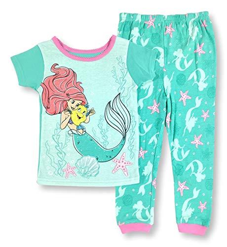 The Little Mermaid Pajamas 2-Piece Snug Fit Ariel Flounder PJ Set for Toddler Girls (4T) Green