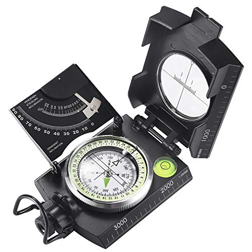 Eyeskey Multifunctional Military Metal Sighting Navigation Compass with Inclinometer | Impact Resistant & Waterproof Compass for Hiking, Camping, Boy Scout (Black)