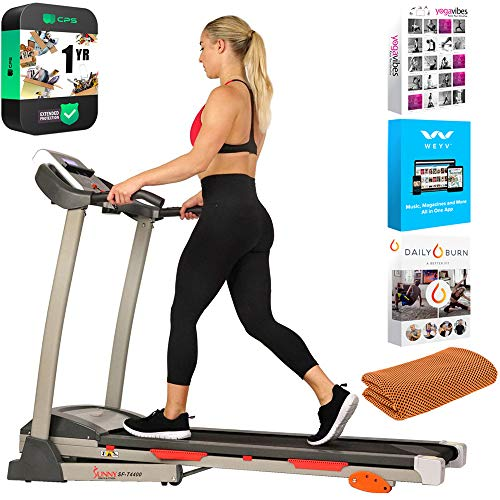 Sunny Health and Fitness SF-T4400 Folding Treadmill with Digital Monitor, Shock Absorption and Incline Bundle with Tech Smart USA Fitness and Wellness Suite, Sport Towel and Extended Protection Plan