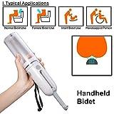 Bidé de viaje portátil, bidet portátil de 180 ° con boquilla ajustable, pulverizador de bidé eléctrico de dos velocidades con carga USB para lavado de bebés, cuidado personal, discapacidad (230 ml)
