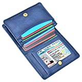 XeYOU Leather Case Minimalist Money Money Organizer Front Pocket Wallet Super Thin Fashion Card Holder with ID Card Window (Deep Blue)
