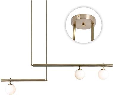 Modo Lighting 3-Light Glass Globe Chandelier Light Modern Linear Ceiling Pendant Light Gold Glass Shade Ceiling Hanging Light