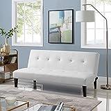 Naomi Home Button Tufted Futon Sofa Bed White