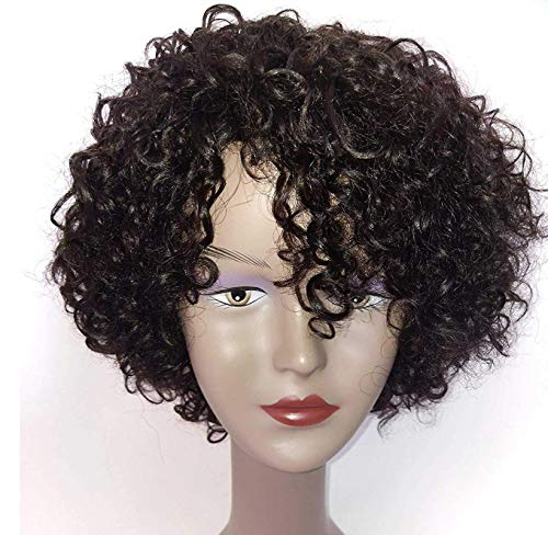 Brazilian Wigs 10 inch Short Kinky Curly Human Hair Wigs for Black Women Short Curly Wigs Natural Color