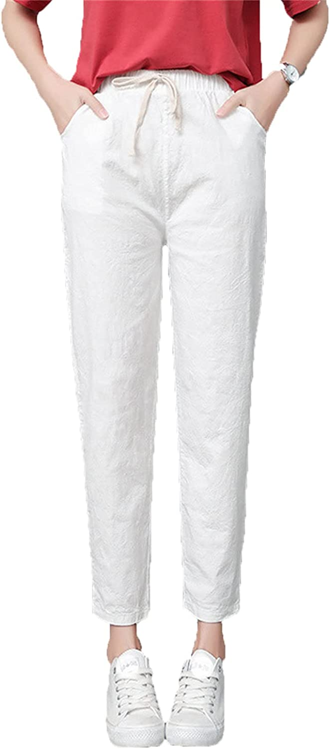 Women's Drawstring Linen Knickers High Waist Solid Loose Casual Elastic Straight Trousers Cropped Soft Flax Pants (Small,White)