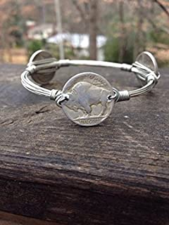 Buffalo Nickel Bourbons and Boweties style wire wrapped bangle bracelet