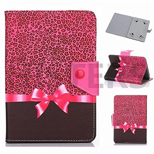 Funda universal para tablet de 10 pulgadas, con soporte universal para Tab de 10', diseño de leopardo y lazo, color rosa y negro