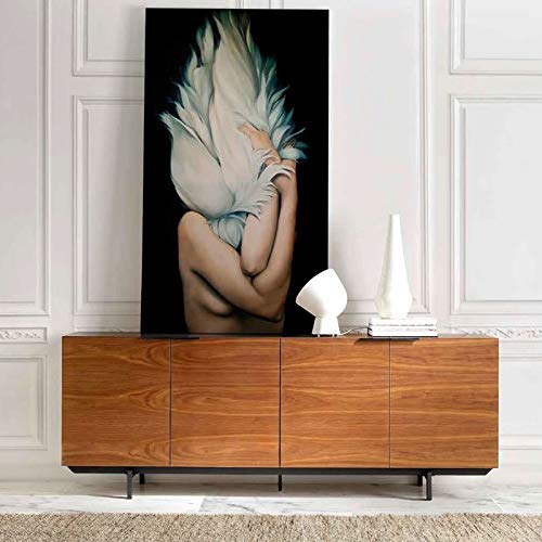 Artemis M-034 dressoir modern, kleur notenhout en metaal, zwart