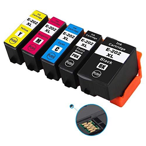Ouguan® Cartucce d'inchiostro Epson 202 XL Compatibile per Epson Expression Premium XP-6000 XP-6005 XP-6100 XP-6105(XP-6105, 1 Nero,1 Nero Foto,1 Ciano,1 Magenta,1 Giallo)