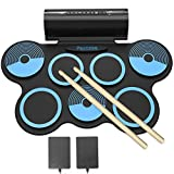 PAXCESS Electronic Drum Set 7 Pads Roll-up Practice Electric Drum for Kids with Headphones Jack, Built-in Speakers Drum...