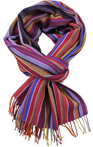 Rotfuchs Echarpe homme rayures hiver & chevrons à la mode plusieurs coloris 100% laine (mérinos) (52 x 200 cm, violet)