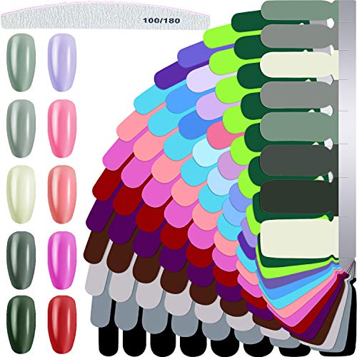 14 Sheets Full Wraps Nail Polish Stickers Self-Adhesive Nail Art Decal Strips Full Cover Nail Wraps Stickers with Nail File for Women Girls DIY Manicure Supplies, Solid Colors
