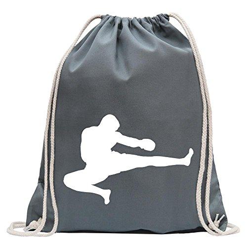 Kiwistar - Kampfsport Karate Judo Kung Turnbeutel Fun Rucksack Sport Beutel Gymsack Baumwolle mit Ziehgurt