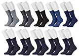 Tobeni 10 Paar Herrensocken Business Socken 100prozent Baumwolle Spitze ohne Naht Farbe 5x Farbig 5x Marine Grösse 43-46
