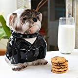 Summit Collection Ceramic Biker Bulldog Cookie Jar Dog Biscuit Pet Food Treat Canister with Lid Ceramic 8.25 Inch Tall