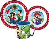 Super Mario - Vajilla infantil con plato, cuenco y taza