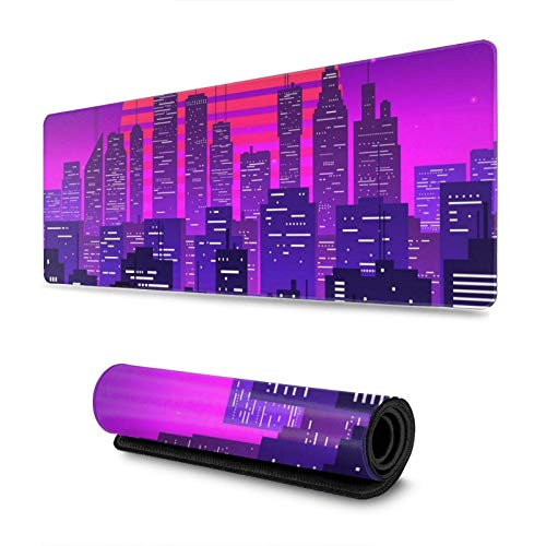 Night City Landscape at Purple Neon Retrowave Gaming Mouse Pad XL, Extended Large Mouse Mat Desk Pad, Stitched Edges Mousepad, Long Non-Slip Rubber Base Mice Pad, 31.5 X 11.8 Inch