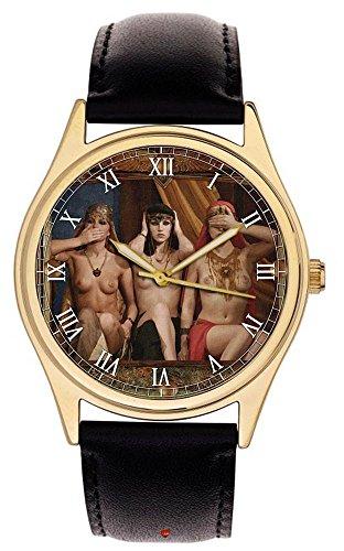 Erotische Handbemalte Französische Postkarte Kunst Sammler Uhr