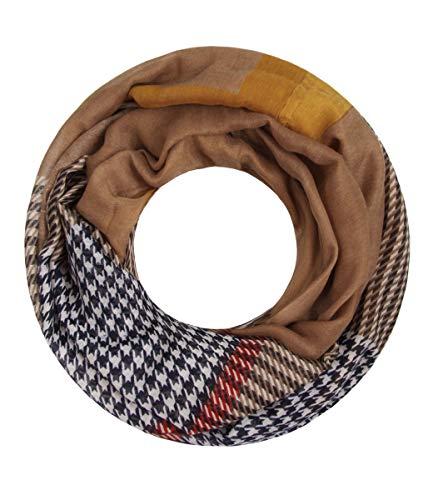Majea NEUE Saison Damen Loop Schal viele Farben Muster Schlauchschal Halstuch in aktuellen Trendfarben (senfgelb 26)