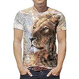 Photo de T-shirt fantaisie pour homme Motif lion et tigre - Blanc - S