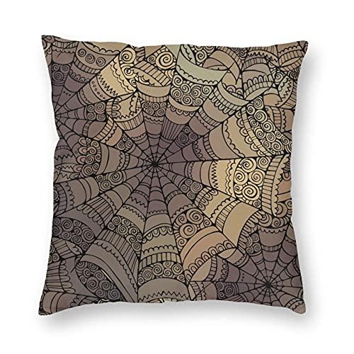 Nixboser Funda de almohada de poliéster con estampado abstracto de tela de araña y sin costuras, para decoración del hogar, para sofá, sala de estar, cama, coche, tamaño de 40,6 x 40,6 cm