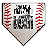 ChalkTalkSPORTS Baseball Stiches Home Plate Plaque | Dear Mom | Ready to Autograph