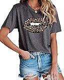 IRISGOD Women's Funny Leopard Lips Cotton T Shirt Cute Kiss Me Graphic Tees Tops Dark Grey