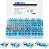 GKEEMARS 106 Pcs Lever-nuts Wire Connectors, Compact Splicing Connector Kit for Electrical Wires Solid Stranded Flexible Wires (Blue)