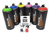 Montana Black Power - Juego de 6 botes de spray + cabezales de repuesto - 6 x 400 ml