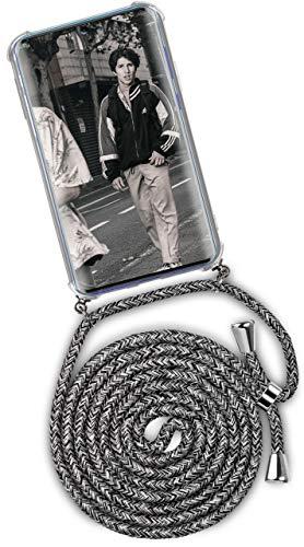 ONEFLOW Handykette kompatibel mit Samsung Galaxy A51 - Handyhülle mit Band zum Umhängen Hülle Abnehmbar Smartphone Necklace - Hülle mit Kette, Schwarz Grau Weiß