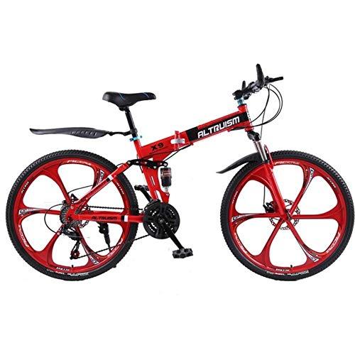MZLJL Berg Fahrrad, X9 Folding Mountainbike Aluminium 21-Gang 26-Zoll-Doppelscheibenbremsen Fahrräder Frauen Mountainbikes Querfeldein Fahrrad, Rot, China