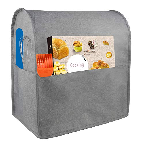 Dust Cover Compatible with 6-8 Quart KitchenAid Mixers, Waterproof Cloth Cover with 3 Pockets for Extra Accessories (Gray)