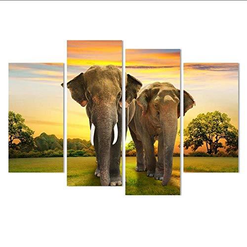 Mubgo Canvas schilderij 4 stuks olifant modern abstract olieverfschilderij olieverfschilderij op doek decoratie woonkamer 30x60x2 30x80x2