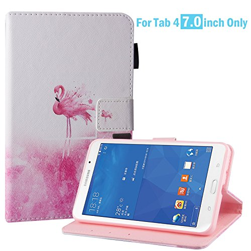 Dteck Case for Samsung Galaxy Tab 4 7.0-inch SM-T230, Slim Lightweight PU Leather Stand Case with Card Slots Magnetic Protective Cover for Galaxy Tab 4 7.0' T230 /Nook 7.0 Tablet, Pink Flamingo