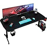 Homall Gaming Desk 60 Inch Pc Computer Desk Office Table Worksation T Shape Height Adjustable with Full Desk Mouse Pad, Gaming Handle Rack, Cup Holder and Head Set Rack (Carbon Fiber Black)
