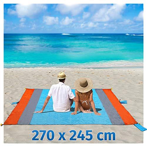 Stranddecke Sandfreie XXXL 270x245cm Plastikplane Campingdecke Wasserabweisend Tragbar Tasche Decke mit 6 Tasche und 6 Zeltstöpse Schnell Trocknende für Strand, Wandern und Camping