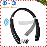Bluetooth Headphone Speaker 2-in-1,YOCUBY Foldable and Retractable Wireless Neckband Earbuds with Built-in Speaker and Microphone Noise Canceling Sports Headsets