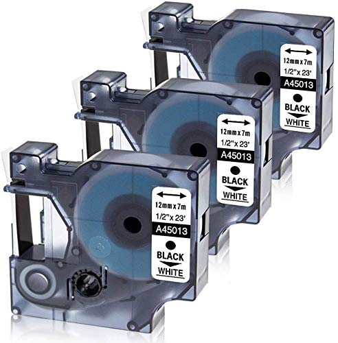 Oozmas - Casete de Cinta compatible para usar en lugar de Dymo D1 45013 S0720530 12mmx7m Negro sobre Blanco, Compatible Dymo LabelManage LM160 LM210D LM260p LM280 LM360d LM420p, pack de 3