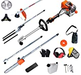 PROYAMA 26cc 5 in 1 Trimming Tools, Multi Functional Sets Gas Hedge Trimmer, String Trimmer, Brush Cutter, Pole Chainsaw Pruner with Extension Pole