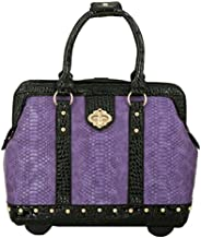 JKM & Company THE DUCHESS Purple Black Faux Leather Compatible With Computer iPad, Laptop Tablet Rolling Tote Bag Briefcase Carryall Bag