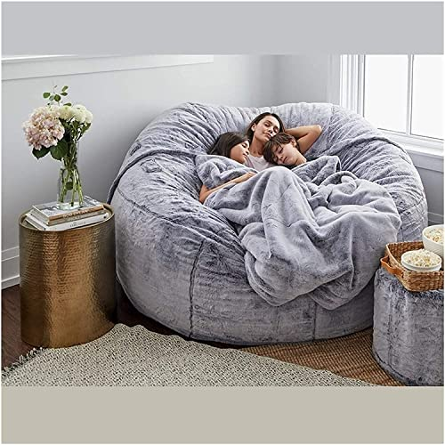 CUzzhtzy 7-foot Giant Fur Bean Bag Chair, Large Round Soft And Fluffy Artificial Fur Bean Bag For Living Room Furniture, Lazy Sofa Bed Cover (Color : Light grey)