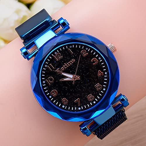 YSKCSRY Reloj para Mujer Reloj Perezoso con magnetita Reloj Perezoso Reloj de Cuarzo para Mujer Banda de Malla magnética Reloj de Cielo Estrellado Reloj Decorativo Reloj de Pulsera