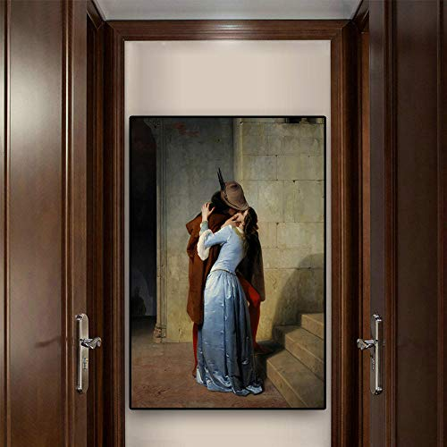 NATARTHD The Kiss by Francesco Hayez Oil Painting on Canvas Portrait Posters and Prints Scandinavian Pop Art Wall Picture for Living Room Painting Canvas Painting Wall Painting