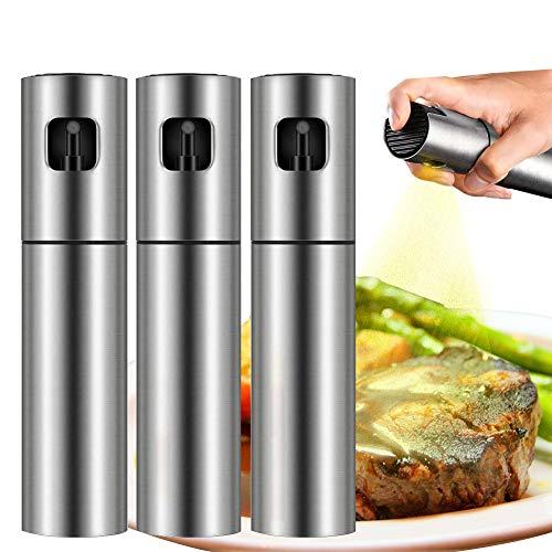 QQLK Oil Sprayer Olivenöl Sprüher zum Kochen - Essig & Ölflasche 100ml - Rostfreier Stahl Olivenöl Flasche Behälter zum Grillen, Salat Machen, Kochen, Backen, Braten, Grillen,3pcs