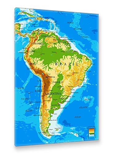 Postereck - Premium Leinwand - 1049 - Südamerika Karte, Länder Hauptstädte in Englisch - Größe 75,0 cm x 50,0 cm