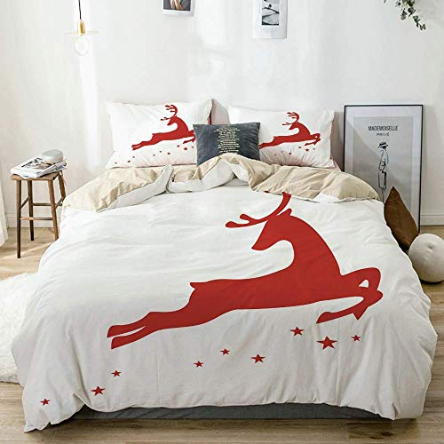 Duvet Cover Set Beige,Jumping Reindeer Leaving a Starry Trace Behind Christmas Character Silhouette,Decorative 3 Piece Bedding Set with 2 Pillow Shams Easy Care Anti-Allergic Soft Smoo