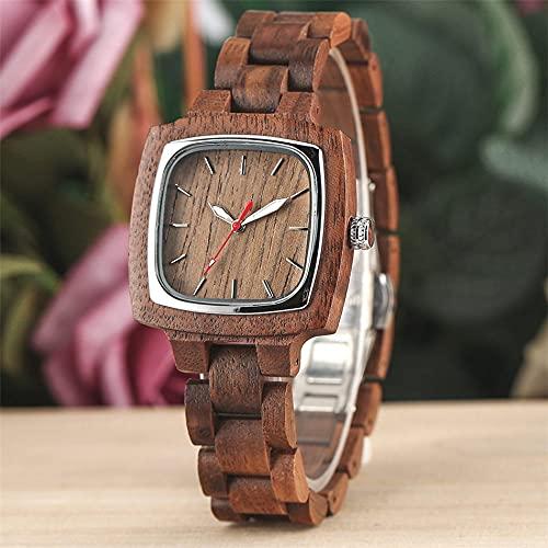 UIOXAIE Reloj de Madera Reloj de Cuarzo Minimalista con Esfera Cuadrada de Madera de Nogal, Brazalete de Madera de Moda, Relojes para Mujer, botón pulsador, Cierre Oculto, Reloj femen