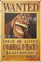 海賊アニメMARSHALL D TEACHマーシャルDティーチ さびた錫のサインヴィンテージアルミニウムプラークアートポスター装飾面白い鉄の絵の個性安全標識警告バースクールカフェガレージの寝室に適しています