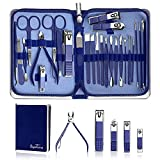 Manicure Set Nail Clippers Pedicure Kit -26 Pieces Stainless Steel Siyaluens Manicure Kit, Professional Grooming Kits Fingernail Clippers , Nail Clippers Sets Suitable for Travel Manicure Kit(Blue)